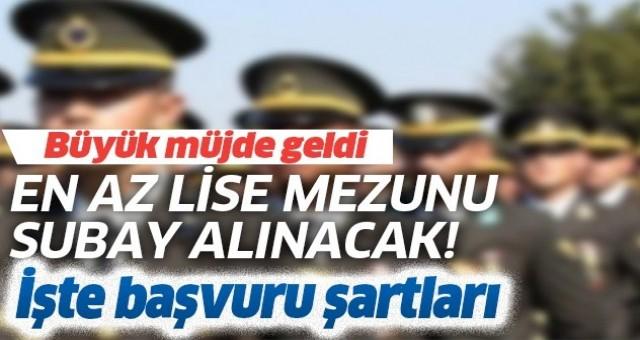 Jandarma en az lise mezunu son dakika Subay alımı başvuru şartları nedir.