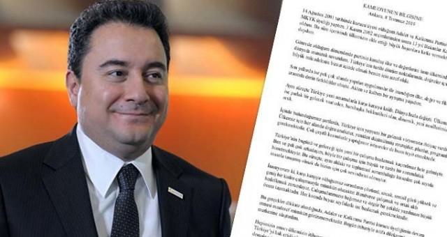 Ali Babacan kurucusu olduğu Akpartiden istifa etti. Ali Babacan'ın istifa metni.