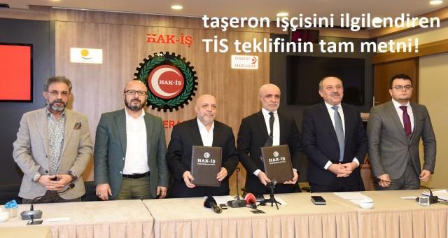 Hak-İş'in Bakanlığa sunduğu 1 Milyon kamu ve taşeron işçisini ilgilendiren TİS teklifinin tam metni!