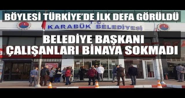 MHP'li Başkan, işe geç gelen işçi ve memurları belediyeye almayarak kapıları kapattı
