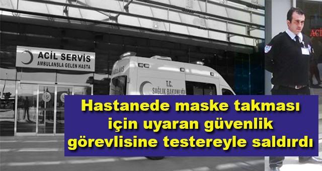 Hastanede maske takması için uyaran güvenlik görevlisine testereyle saldırdı